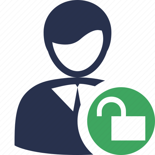 account, business, client, office, unlock, user icon