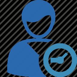 account, client, clock, male, profile, user icon