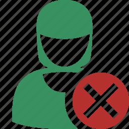 account, cancel, female, profile, user, woman icon