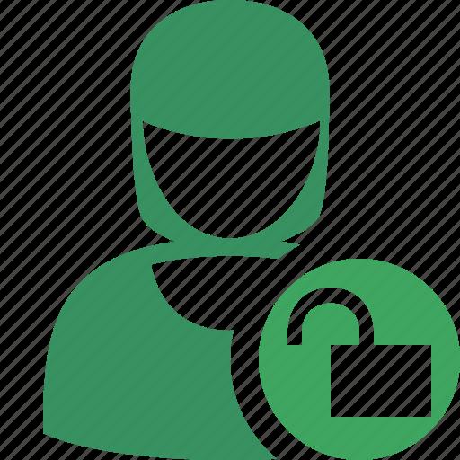 account, female, profile, unlock, user, woman icon