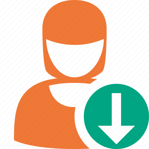 account, download, female, profile, user, woman icon