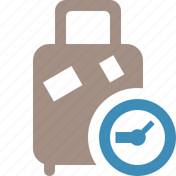 bag, baggage, clock, luggage, suitcase, travel, vacation icon