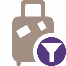 bag, baggage, filter, luggage, suitcase, travel, vacation icon