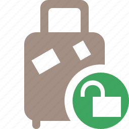 bag, baggage, luggage, suitcase, travel, unlock, vacation icon