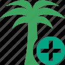 add, palmtree, travel, tree, tropical, vacation icon