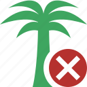 cancel, palmtree, travel, tree, tropical, vacation icon
