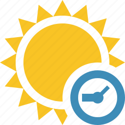 clock, summer, sun, sunny, travel, vacation, weather icon