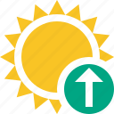 summer, sun, sunny, travel, upload, vacation, weather icon