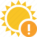 summer, sun, sunny, travel, vacation, warning, weather icon