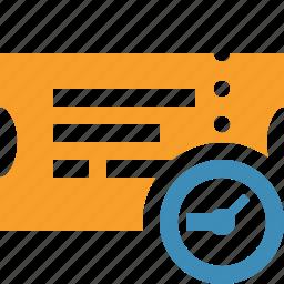 clock, movie, ticket, transport, travel, vacation icon