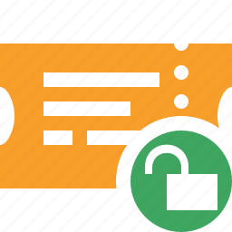 movie, ticket, transport, travel, unlock, vacation icon