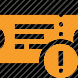 movie, ticket, transport, travel, vacation, warning icon