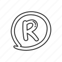business, circled letter r, emoji, registered, registered sign, registered symbol icon