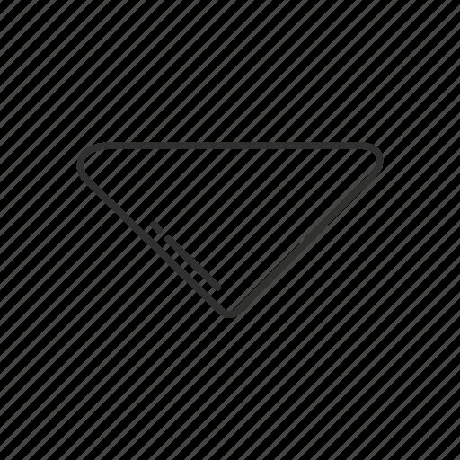 arrow, arrow down, down, emoji, geometry, shape, triangle icon