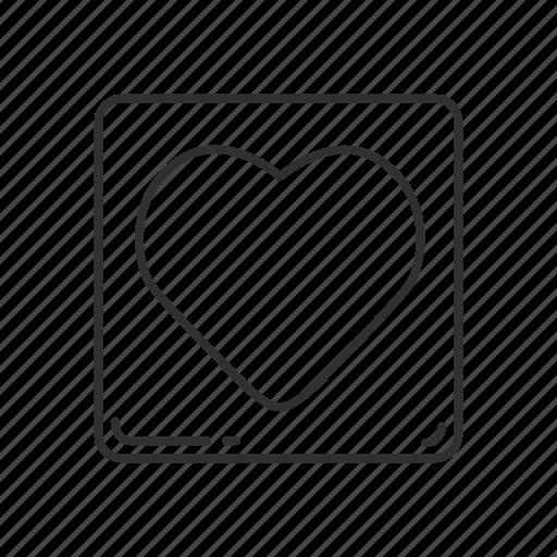 emoji, heart, heart button, heart symbol, love, squared heart, valentines icon