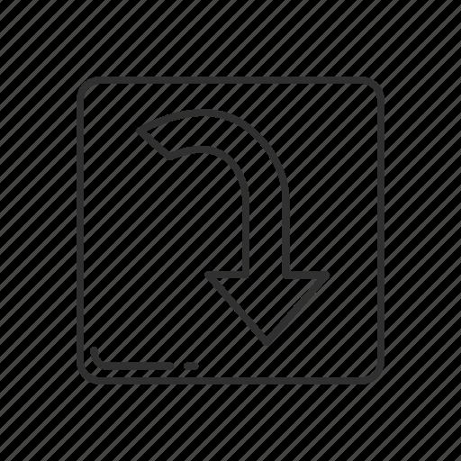 arrow, arrow curving downwards, arrow down, arrow pointing down, direction, downwards, emoji icon