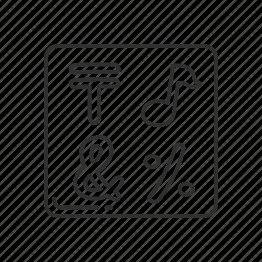 characters, emoji, input, input symbol for symbols, input symbols, note, squared symbols icon