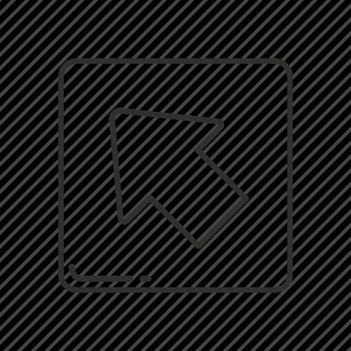 arrow, arrow pointing north west, emoji, north west, north west arrow, pointing north west, squared arrow icon