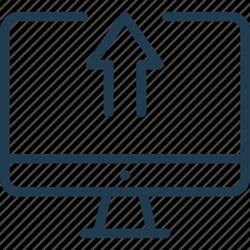 arrow, computer, imac, pc, sync, synchronization, upload icon