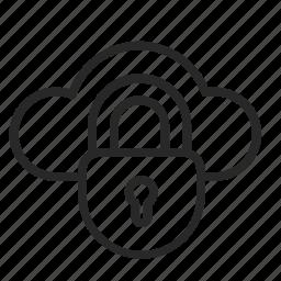 cloud, indoor, lock, password, secret, security icon