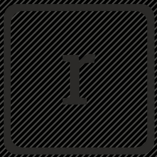 element, keyboard, latin, lowcase, r icon