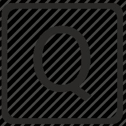 keyboard, latin, letter, q, uppercase icon