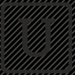 keyboard, latin, letter, u, uppercase icon