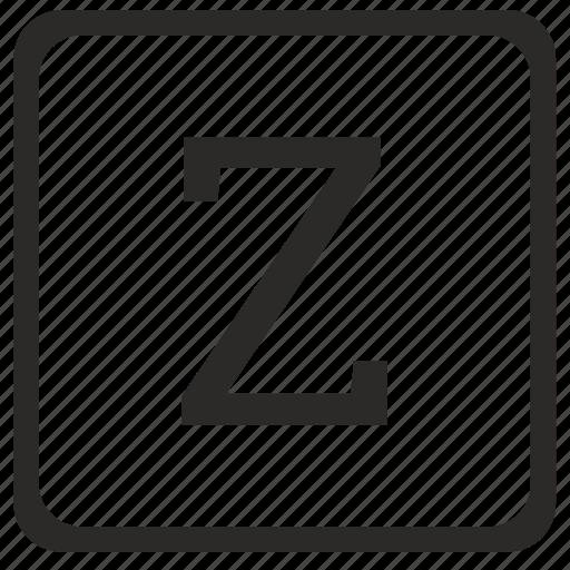 keyboard, latin, letter, uppercase, z icon