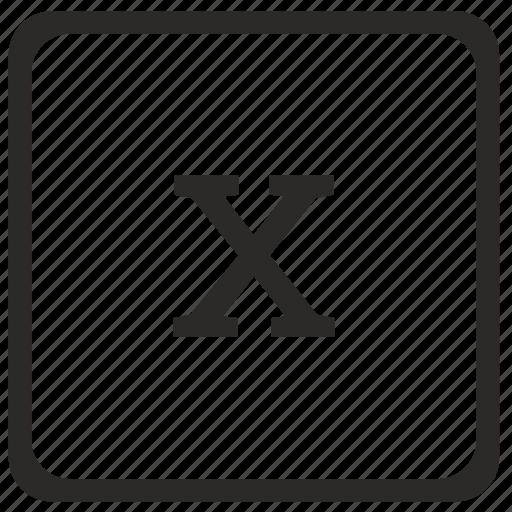 element, keyboard, latin, lowcase, math, x icon