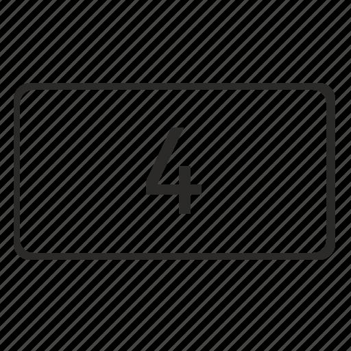 four, keyboard, keypad, number, pin icon