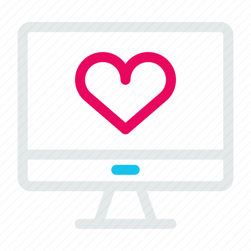 computer, heart, monitoring, pc, screen, technology icon