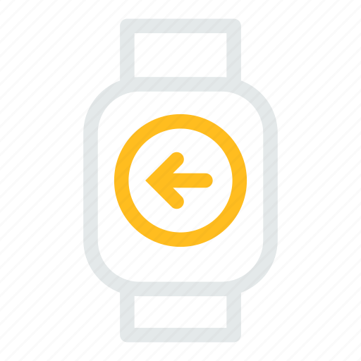 arrow, device, left, mobile, smart, watchleft icon