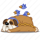 bird, bulldog, chain, dog, fat, nap, sleep icon