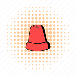 clothing, comics, craft, equipment, finger, metal, thimble icon