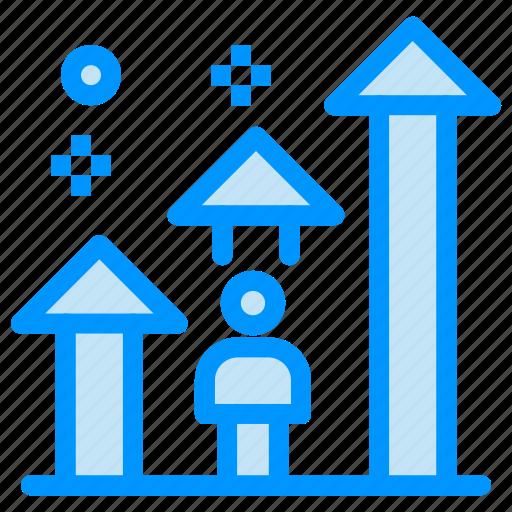 arrow, career, man, progress, success icon