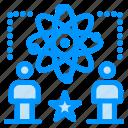 atom, man, physics, star, user icon