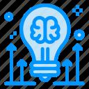 arrow, brain, brainstorming, bulb, idea icon