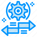 arrow, gear, left, right, setting icon