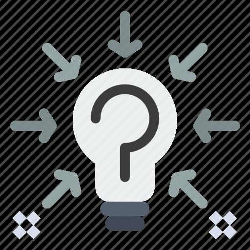bulb, idea, question, solution, suggestion icon