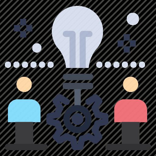 bulb, idea, setting, solution, team icon