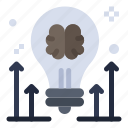 arrow, brain, brainstorming, bulb, idea icon