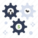 cog, configuration, dollar, setting, wheel icon