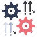 arrow, cog, gear, setting, wheel icon