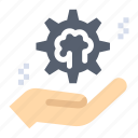 brain, cog, hand, setting, solution icon