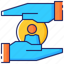 business, care, customer, hand, marketing, retention, service icon