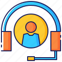 assistance, business, communication, customer, headset, service, support icon
