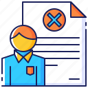 business, career, cross, employee, fired, getting, worker icon
