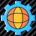 business, earth, gear, global, globe, growth, progress icon