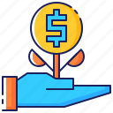 business, growing, growth, increase, money, plant, success icon