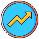 arrow, business, chart, graph, growth, increase, success icon